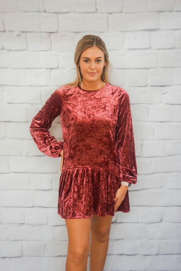 SOLID CRUSHED VELVET RUFFLE BOTTOM DRESS