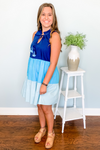 MCKENNA BLUE COLORBLOCK DRESS