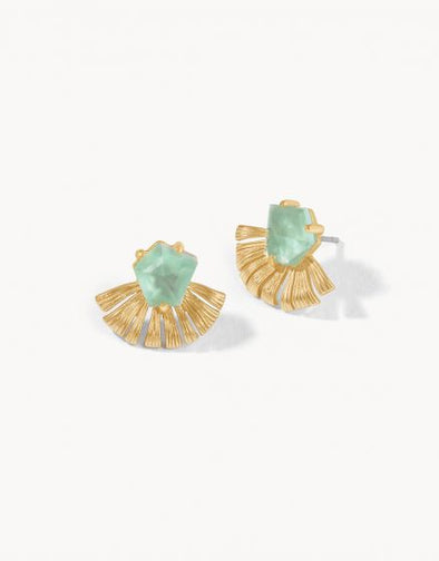 AQUA PEARLESCENT FAN PALM STUD EARRINGS