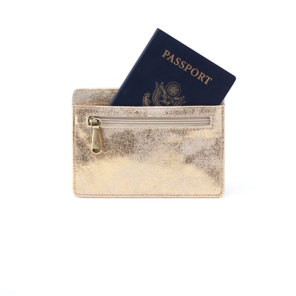 DISTRESSED GOLD EURO SLIDE WALLET