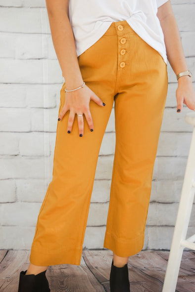 HONEY GOLD CROPPED STRAIGHT LEG PANT