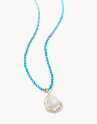 "TURQUOISE COIN PEARL BITTY 18"" NECKLACE"