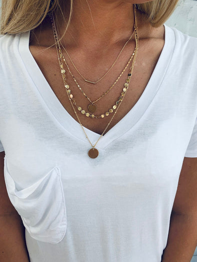GOLD MULTI CHAIN LAYERED NECKLACE SET