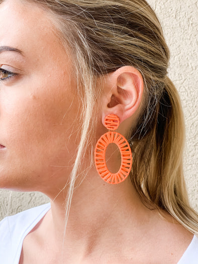 ORANGE OVAL DROP EARRING