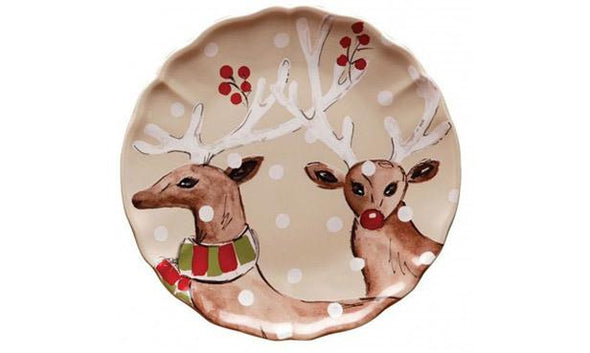 DEER FRIENDS 2 DEER DINNER PLATE - LINEN