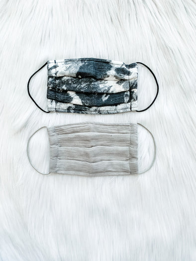 COTTON FACE MASK, BLACK ABSTRACT/GREY