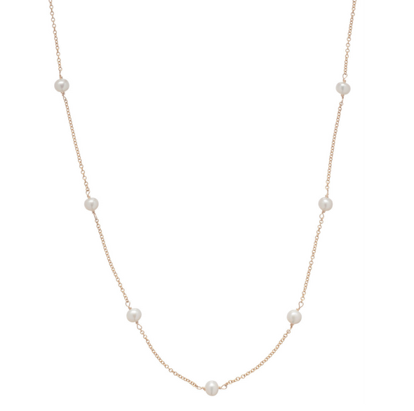 "41"" NECKLACE SIMPLICITY CHAIN GOLD, 4MM BEAD PEARL"