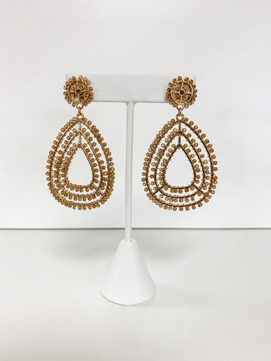 GOLD TEARDROP SEED BEAD EARRINGS