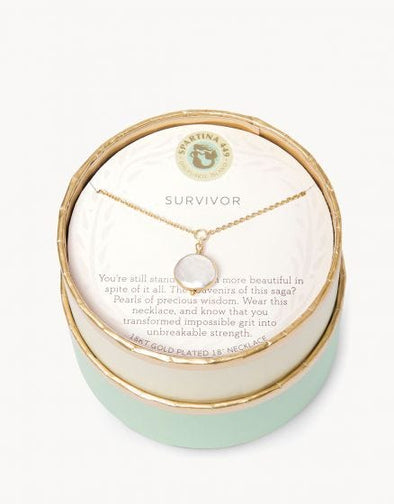 "SLV NECKLACE 18"" SURVIVOR/ COIN PEARL"
