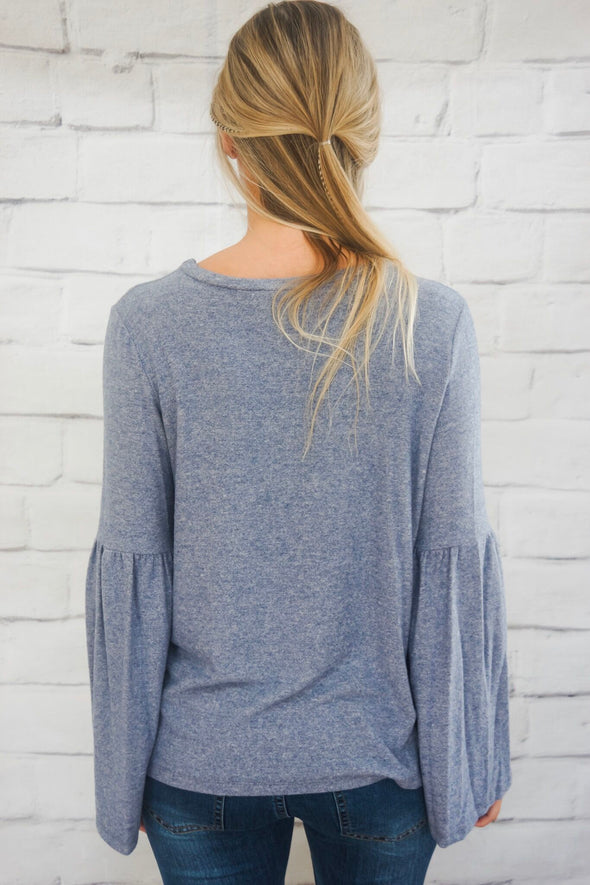 BLUE FUNNEL SLEEVE BLOUSE