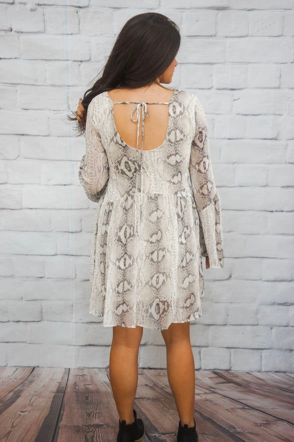 SNAKE SHIRRED DRESS