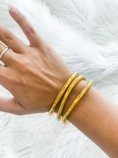 BUDHAGIRL ALL WEATHER BANGLES GOLD S/3