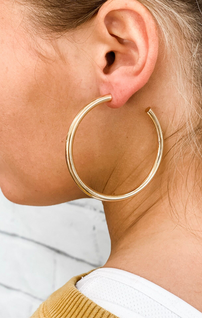GOLD HOLLOW HOOP EARRING (60MM)