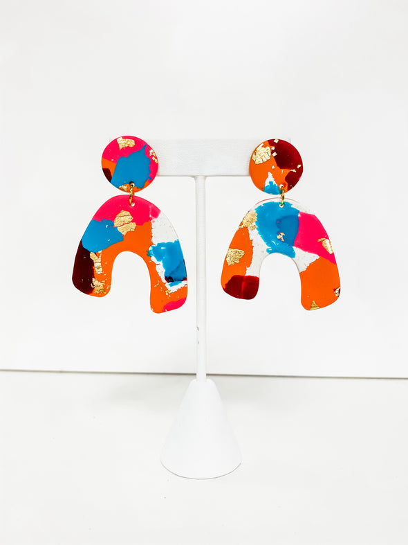 ABSTRACT RAINBOW NATURAL ARCH CLAY EARRINGS