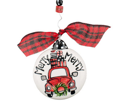 MERRY MERRY CHRISTMAS CAR PUFF ORNAMENT