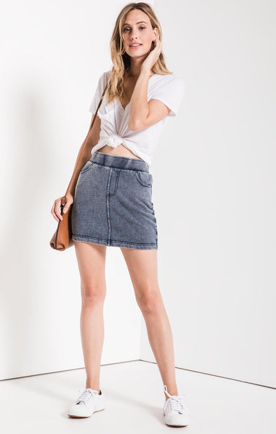 INDIGIO KNIT DENIM SKIRT