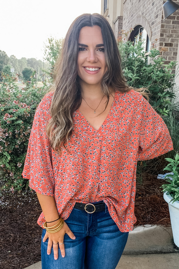 CORAL FLORAL MIX TUNIC