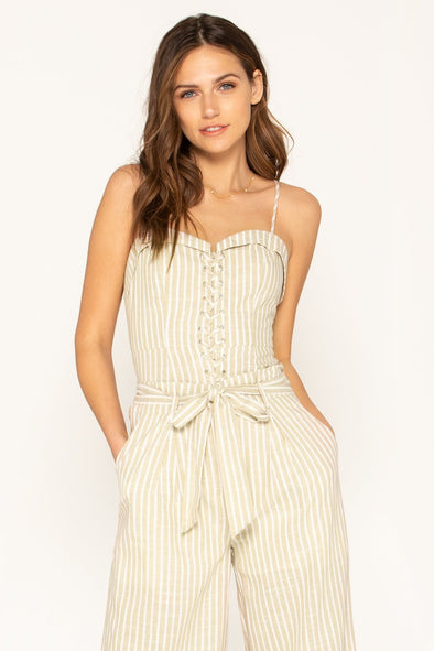 BUFFED UP LINEN BUSTIER TOP IN STONE/BEIGE