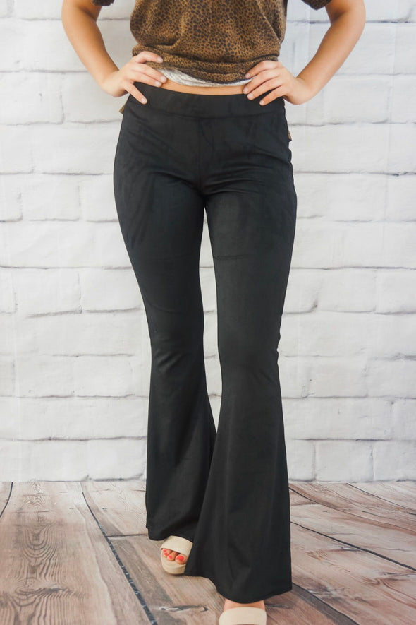 NASHVILLE SUEDE BELL BOTTOM LEGGING IN BLACK