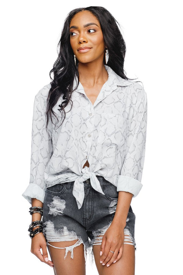 PORTIA OVERSIZED BUTTON DOWN TOP - CHARMER