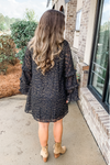BLACK & GOLD METALLIC LEOPARD DRESS