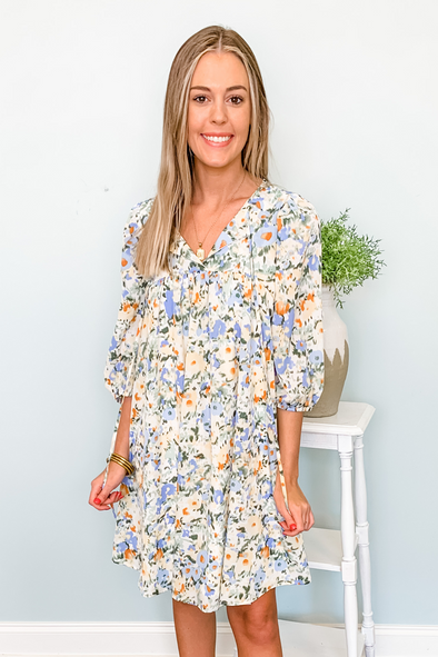 BLUE & YELLOW FLORAL BABYDOLL DRESS