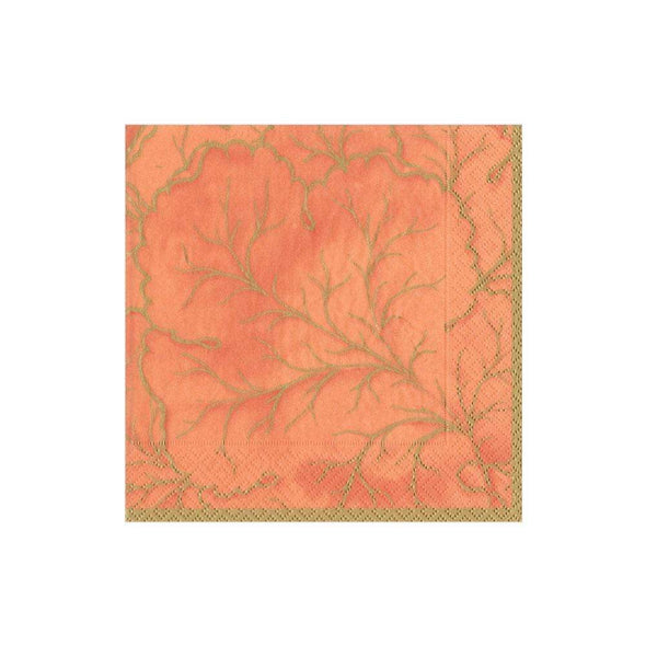 GILED MAJOLICA ORANGE COCKTAIL NAPKIN