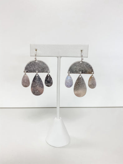 CRESCENT T-DROP EARRINGS, SILVER