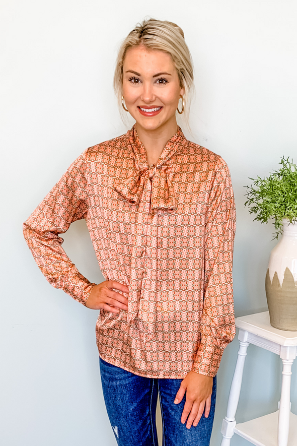 PEACH ABSTRACT TIE NECK TOP