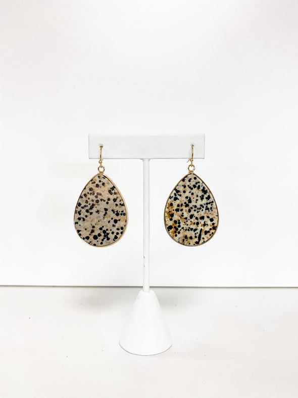 DALMATIAN TEARDROP STONE EARRINGS
