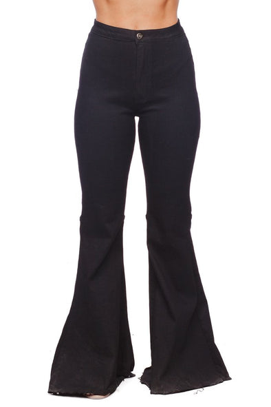MOONSHINE HIGH WAISTED FLARES - BLACK