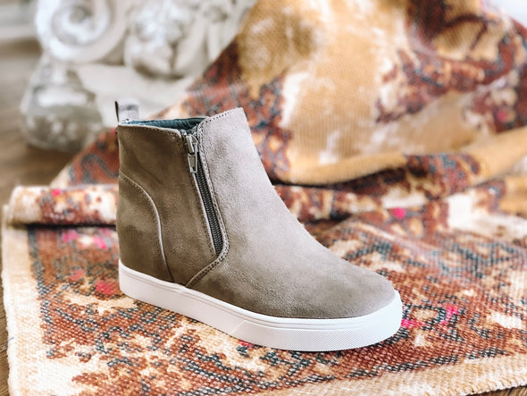 TAUPE SUEDE HIGH TOP SNEAKER
