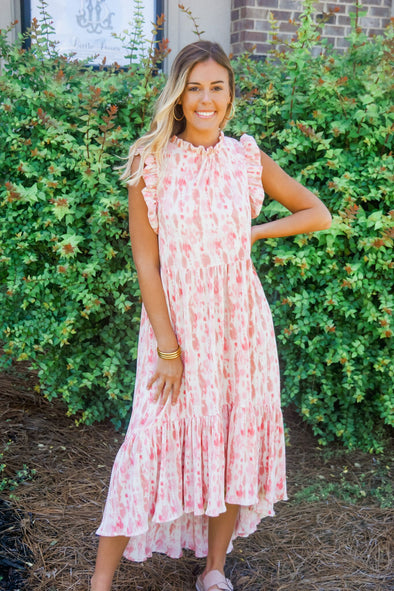 KARLIE CORAL TIE DYE RUFFLE DRESS