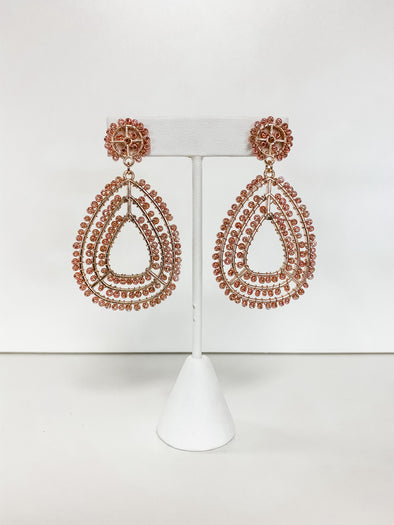 ROSE GOLD TEARDROP SEED BEAD EARRINGS