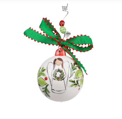 HOLLY ANGEL BALL ORNAMENT