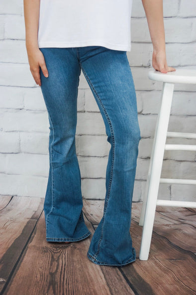 NEWBURY LIGHT WASH DENIM PULL ON FLARES