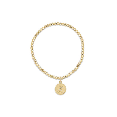 3MM INITIAL GOLD BRACELET, RESPECT DISC