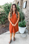 RUST RUFFLE SLEEVELESS DRESS