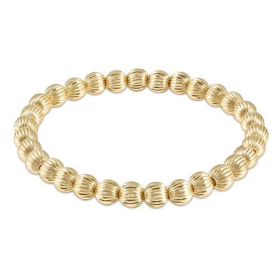 DIGNITY GOLD PATTERN BEAD BRACELET, 6MM