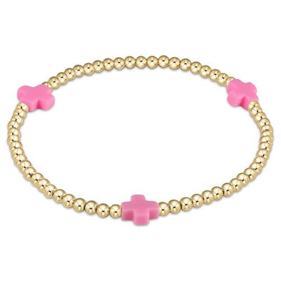 SIGNATURE CROSS 3MM GOLD BRACELET, BRIGHT PINK