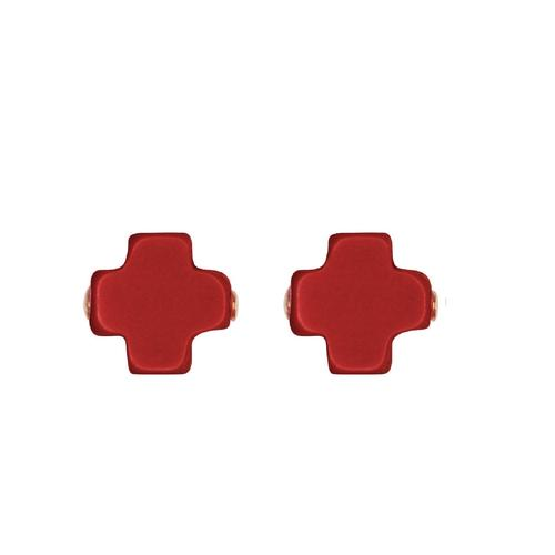 SIGNATURE CROSS STUD EARRING, RED
