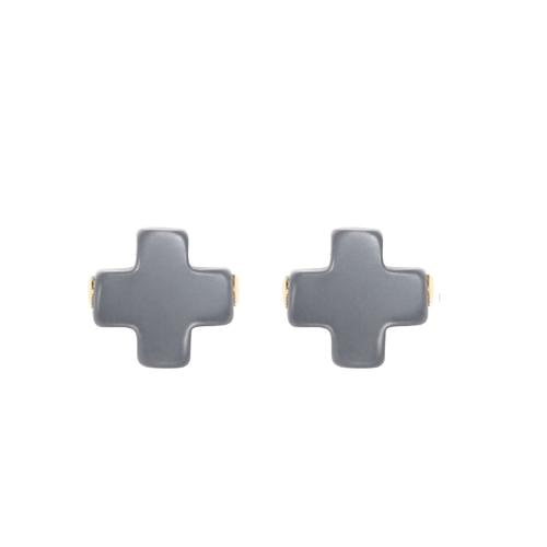 SIGNATURE CROSS STUD EARRING, CHARCOAL