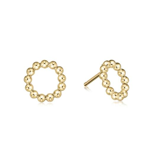 CLASSIC BEADED HALO STUD EARRING, 3MM GOLD