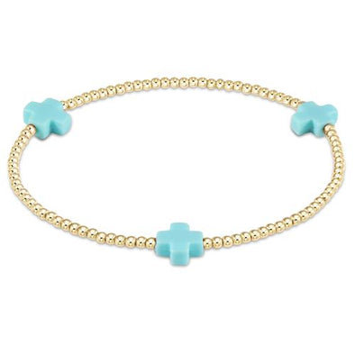 SIGNATURE CROSS GOLD 2MM BEAD BRACELET, TURQUOISE