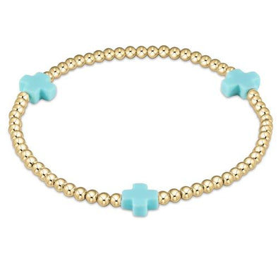 SIGNATURE CROSS 3MM GOLD BRACELET, TURQUOISE
