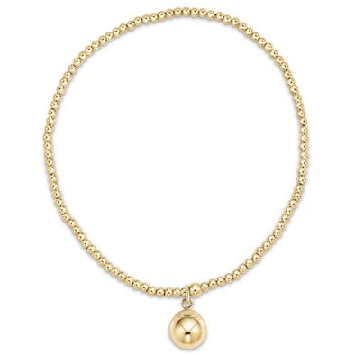 CLASSIC GOLD 2MM BEAD BRACELET, CLARITY GOLD CHARM
