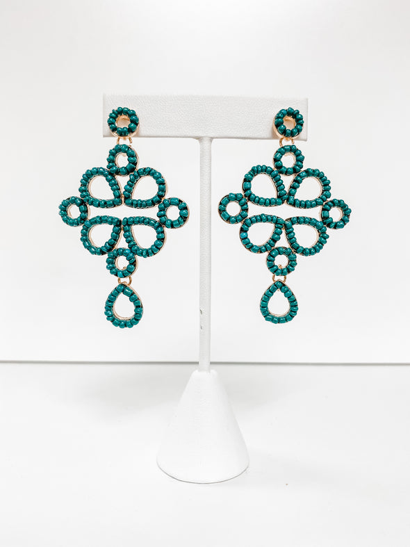 DARK GREEN SEED BEAD CHANDELIER EARRINGS