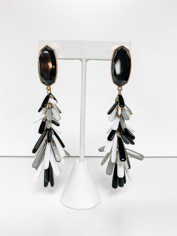 BLACK ACRYLIC FRINGE HEXAGON EARRINGS