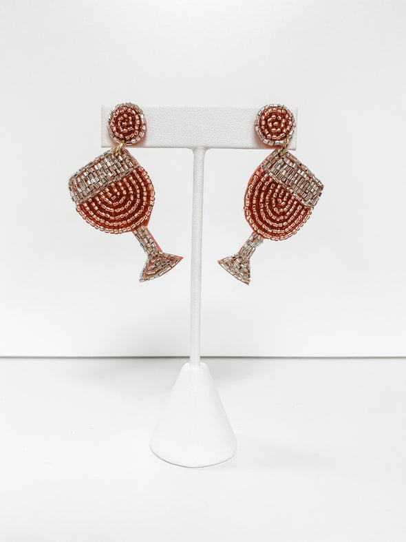 ROSE WINE GLASS BEADED EARRINGS