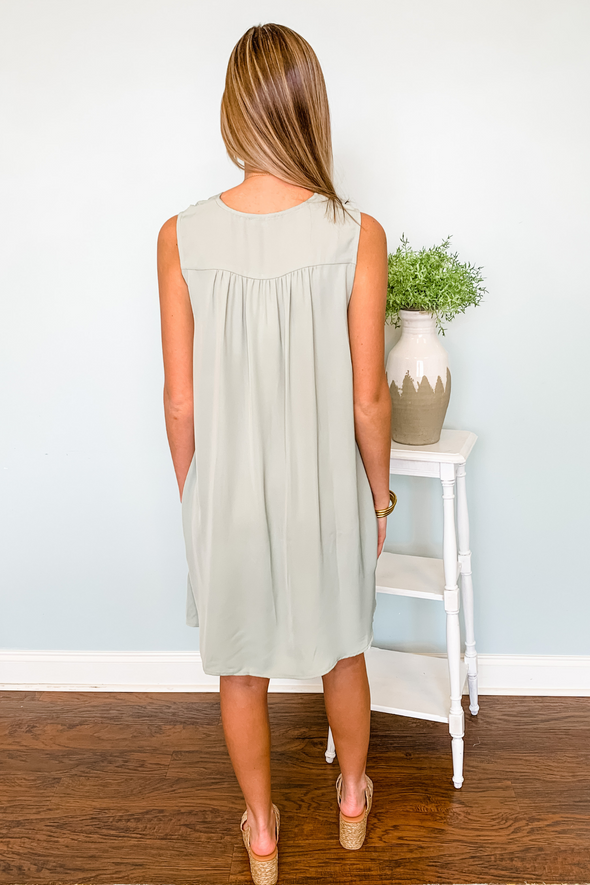 SAGE GREEN SHIFT DRESS